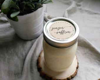 ginger saffron - 16 oz mason jar - hand poured soy candle