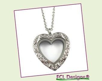 Silver Vintage Heart Floating Charm Locket Necklace