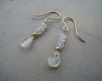 Moonstone earrings, gemstone earrings, June birthstone earrings, moonstone jewellery, gold filled earrings, sterling silver earrings, So You