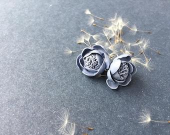 Handmade Porcelain Flower Earrings, Gray & Blue