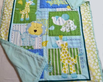Handcrafted baby quilt, handmade baby blanket, print with animals, baby boy, baby blanket, hand-stitched, one-of-a-kind, baby gift