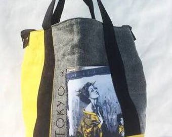 Tokyo 2 yellow, grey and black tote bag