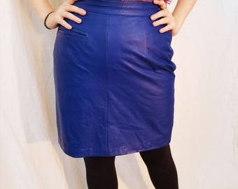 80s Blue Leather Mini Skirt.  Size Small
