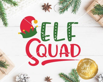 Elf Squad SVG DXF Cut File, Elf Christmas Vector, Christmas SVG, Christmas Family Svg Cut Files, Elf Family Svg, Holidays Svg Cut Files