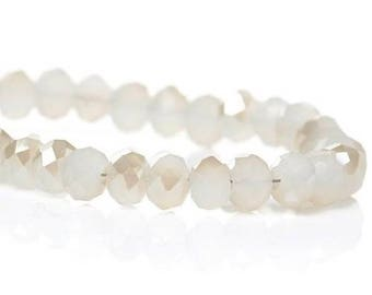 Clear glass flat round white faceted 4mm Dia1 row (Env.148PCs
