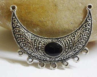 Half moon necklace silver bib connector aged 54 x 20