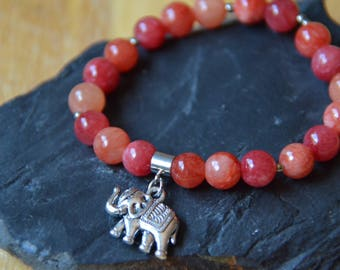 Stretch Bracelet with Watermelon Colored Quartzite Beads and Silver Plated Elephant Charm