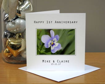 Personalised 1st Wedding Anniversary Flowers Card - Pansy Anniversary Card -  First Anniversary Card - 1st Anniversary Card