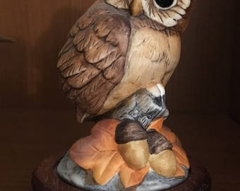 Vintage Andrea by Sadek #6350 Owl Figurine with Original Wood Base