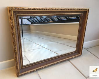 Beautiful Rectangular Ornate and Elaborate Vintage Gilt Over Mantel Mirror/Wall Mirror 50 miles free shipping