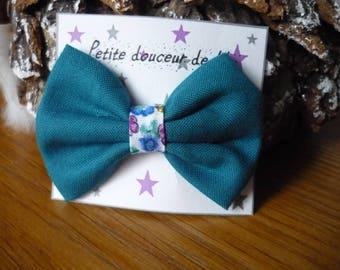 blue bow Barrette