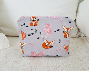 Fox heart pouch, travel pouch, makeup bag, fox pouch, cosmetic pouch