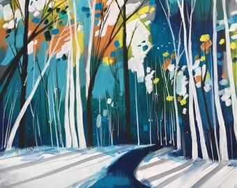 "16""X20"" original painting landscape contemporary birch aspen trees teal turquoise acrylic canvas art home decor Shweta Patil Free ship USA"