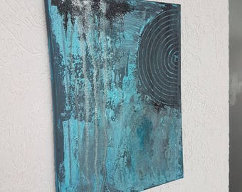 Acrylic art Acrylic painting abstract mixed media 30 x 40 cm Turquoise Blue Original