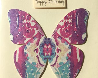 Birthday Butterfly Greetings Card - Handmade