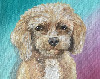 Acrylic Pet/Dog/Cat Portrait on Canvas Personalized Pet Memory Animal Lover Colorful New School Old School