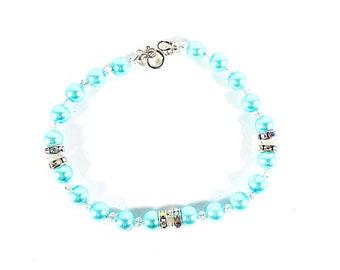 Aqua Love~ Handmade Beaded Bracelet~ Aqua Glass Pearls & Swarovski Crystals~ Sterling Silver Clasp~ Bridesmaid Gift~ Adjustable