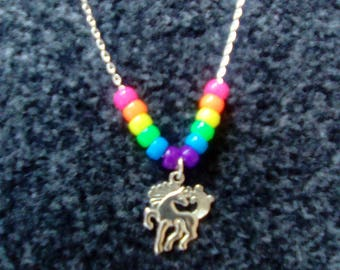 LoliRosa Rainbow Beads & Unicorn Pony Necklace