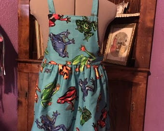 Colorful Frogs Girls Apron size 7-8