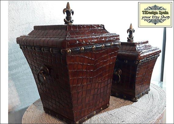 Cajas decorativas, Cajas de madera y piel, Set de 2 cajas de madera y piel, Cajas para regalar, Regalo caballero, Tiborgs de cuero y madera