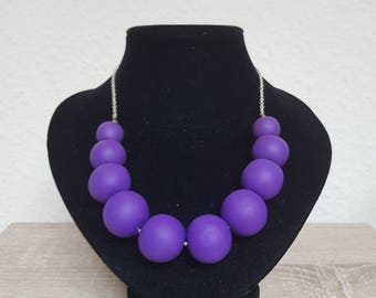 Plum Fimo Necklace Free Shipping