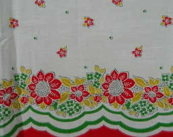 Vintage Red Floral Cotton Fabric, Red Green, Vintage Kitchen Curtain Fabric, Farmhouse Curtain Fabric, Retro Curtain Fabric, Border, Cafe