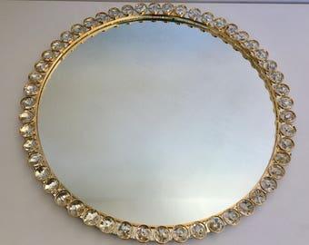 Spiegel mit Kristallen Nachtmann Lampen Design vergoldet