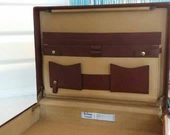 """Hartmann Belting Brown Leather Legend Deluxe Attache13""""x18""""x4"""" Vintage Hard Briefcase"""