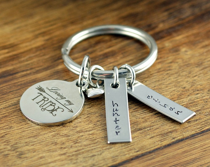 Loving My Tribe Keychain - Mom Gift - Hand Stamped Keychain - Tribe Jewelry - Personalized Mother's Keychain - Mothers Day Gift