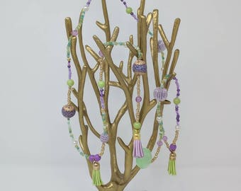 Purple Green and Gold Rope Length Necklace Accented with Tassels