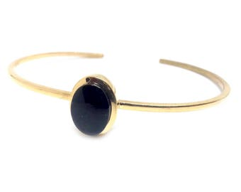 Sterling silver goldplated bracelet with jet stone
