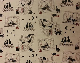 Together Cats Fabric 100% Cotton Material By Metre Roof Windows Stars Moon Patchwork Cushions Bags Bunting