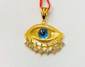 Greek evil eye 22k solid 916 gold pendant
