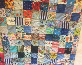 Beautiful baby boy patchwork quilt/ play mat/ cot quilt / baby shower gift