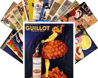 Postcard Pack (24 cards) Liqueur Aperitif Vintage Alcohol Ads Poster Art Deco CC1091