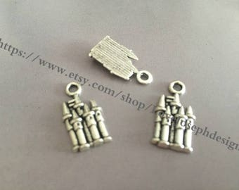 wholesale 100 Pieces /Lot Antique Silver Plated 10mmx20mm castle charms (#030)