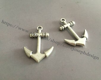 wholesale 100 Pieces /Lot Antique Silver Plated 20mmx28mm Anchor Charms (#0100)