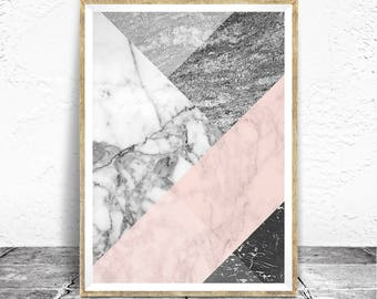 Marble Print - Baydreem. Marble Wall Art Marble Art Marble Poster Black and White Soft Pink Marble Modern Abstract Art Geometric Stone Art