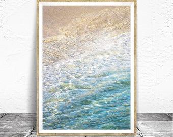 Ocean Print - Baydreem. Ocean Photography Ocean Wall Art Aqua and Blue Golden Sand Modern Coastal Art Beach Print Ocean Poster Beach Decor
