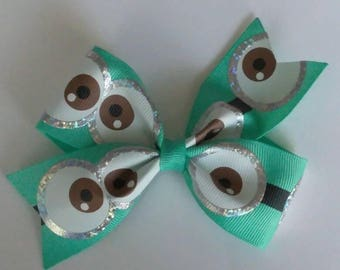 Minions hair bow,  Aqua hair bow, double loop hair bow, eye hair bow, toddler bows, eyeball hair bow, character hair bow