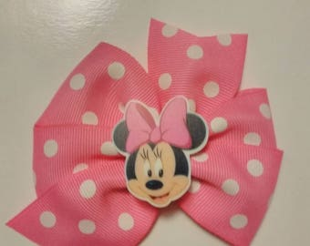 Minnie inspired hair bow, red minnie mouse hair bow, pink polka dot mouse bow, character headband, baby hair bow, polka dot hair bow