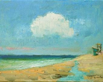 Great plein air oil miniature Crimea Black sea seascape waves landscape cityscape ukrainian professional art