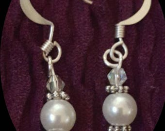White pear and crystal earrings