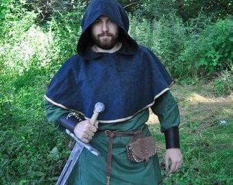 Viking hood; wool hood; viking clothes; celtic trim; medieval clothes