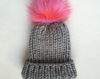 Hot pink and grey fisherman rib beanie, fold over beanie, valentines day hat, pink faux fur pom hat, ribbed foldover hat, Grey slouch hat