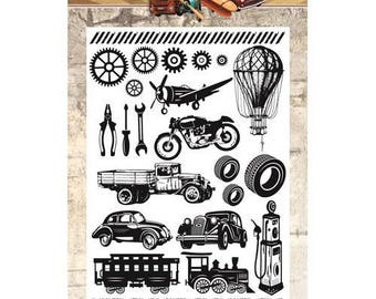 Clear stamps transparent scrapbooking AMY VINTAGE cars DESIGN