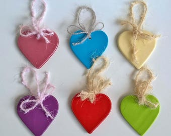 Set 6 assorted ceramic hearts for favors or inaugurations and hanging