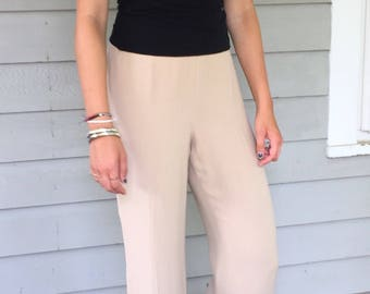 Vintage 90s Minimal Ecru Silk Crepe Wide Leg Trousers | M 6