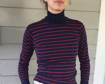 Vintage 80s Thin Cotton Knit Navy & Red Striped Turtleneck | XS/S