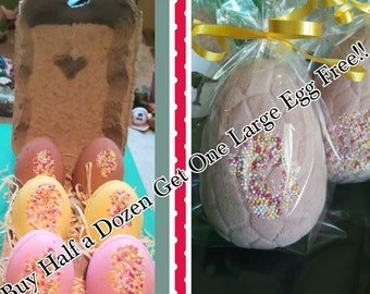 Half a dozen Easter egg bath bombs - plus FREE large chocolate egg bomb!